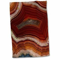 "3D Rose Banded Agate-Rust Colored Hand Towel, 15"" x 22"", Mul"