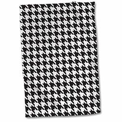 3D Rose Black and White Classic Preppy Houndstooth Pattern H