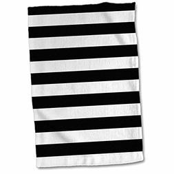 "3D Rose Black and White Stripes twl_24690_1 Towel, 15"" x 22"""