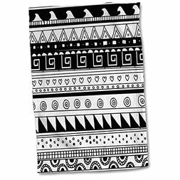 3D Rose Black and White Tribal Modern Abstract Aztec Pattern