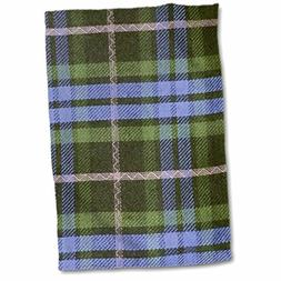 3D Rose Blue and Green Tartan Pattern with Black and Grey Gr