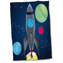 3D Rose Boys Rocket Ship with Planets Design On A Dark Blue