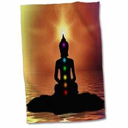 "3D Rose Buddha Symbol with Sunset Hand Towel, 15"" x 22"", Mul"