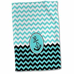 3D Rose Chic Nautical Anchor Design Over Blue and White Chev