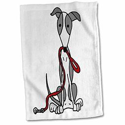 3D Rose Cute Funny Grey and White Greyhound Dog with Leash H