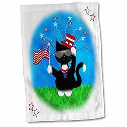 3D Rose Cute Red Blue Patriotic Black White Tuxedo Cat 4Th o