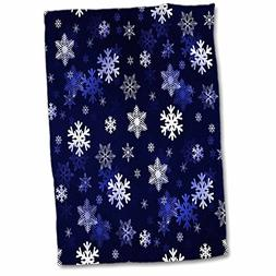 3D Rose Dark Blue Winter Christmas Snowflakes with A Seamles