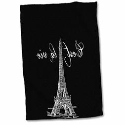 3D Rose French Black and White Eiffel Tower TWL_178953_1 Tow