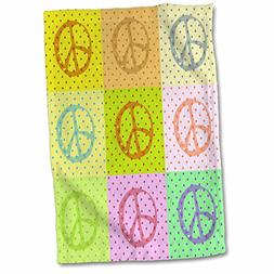3D Rose Fun Polka Dot Peace Signs Collage-Colorful Art twl_6
