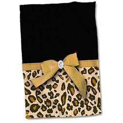 3dRose 3D Rose Gold Leopard Spots with Glamorous Faux Ribbon