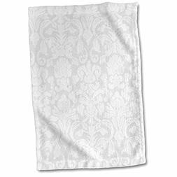 3D Rose Grey Silver and White French Floral Fancy Damask Pat