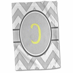 3D Rose Grey and White Chevron with Yellow Monogram Initial