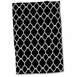 3D Rose Image of Black and White Quatrefoil Pattern Hand Tow