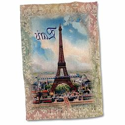 3D Rose Image of Eiffel Tower on Old Music Sheet with Word P