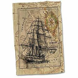 3D Rose Image of Black Ghost Ship On Vintage European Map Ha
