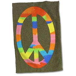 """3D Rose Image of Rainbow Peace Sign Hand Towel, 15"""" x 22"""""""