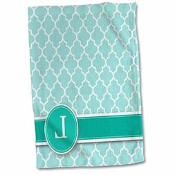 3D Rose Letter L Aqua Blue Quatrefoil Pattern Teal Turquoise