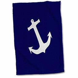 3D Rose Light Gray Boat Anchor on Navy Blue Hand/Sports Towe