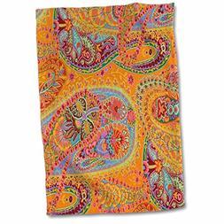 3D Rose Lime Orange n Pink Batik Paisley TWL_60518_1 Towel,
