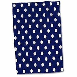 3D Rose Navy Blue and White Polka Dot Print TWL_24685_1 Towe
