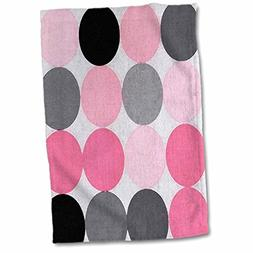 3D Rose Large Painted Black Pink N Gray Circles Hand/Sports