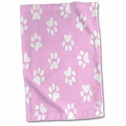 3D Rose Pink and White Paw Print Pattern-Girly Girl Pawprint