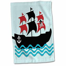 "3D Rose Pirate Boat. Kids Décor Hand Towel, 15"" x 22"", Blue"