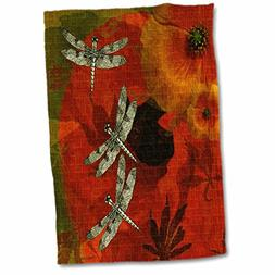 "3D Rose Poppies and Dragonflies Hand Towel, 15"" x 22"", Multi"