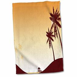 3D Rose Pretty Sunset Beach Scene with Palm Trees Hand Towel