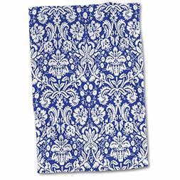 3D Rose Royal Blue and White Damask Pattern-Stylish Elegant