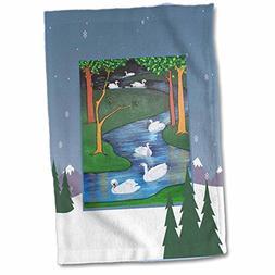 3D Rose Seven Swimming-Snow Tree-Swans-Religious Symbolism-T