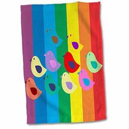3D Rose Ten Rainbow Birds Hand/Sports Towel, 15 x 22