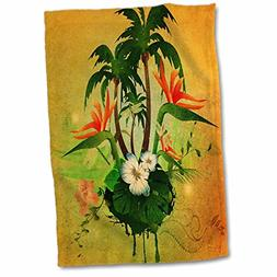 3D Rose Tropical Design with Flowers and Palm Trees Hand Tow