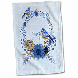 3D Rose Two Bluebirds Building A Nest On A Floral Watercolor