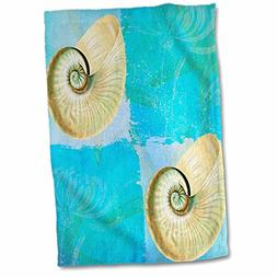 3D Rose Two Shells with Starfish in Aqua and Blues Ocean Col