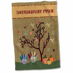 3D Rose Two Turkeys Under Tree with Pumpkins-Happy Thanksgiv