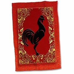 3D Rose Zodiac Rooster Chinese New Year Red-Gold and Black H