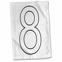 3dRose Numbers - Number 8-15x22 Hand Towel