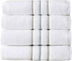 Great Bay Home 4-Pack Bath Towel Set. Lightweight 100% Cotto