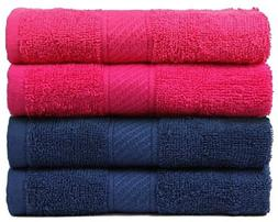 Trident 400 GSM 4 Pieces Hand Towels Combo - Hot Pink and En