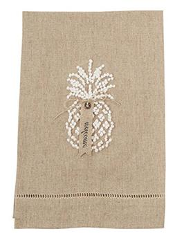 Mud Pie 4405182T Linen Oatmeal Pineapple Hand Towel, Taupe