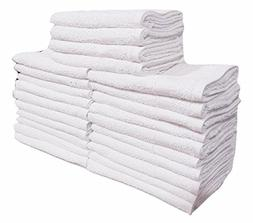 5 DOZEN 60 pcs  NEW WHITE 100% COTTON BASIC HAND TOWELS