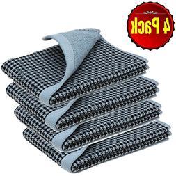 SearchI 500 GSM Plaid 4 Piece Hand Towel Set 13 x 30 inch 10