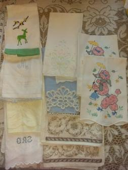 51 Vtg hand embroidered Tea Towels, placemats, painted, croc