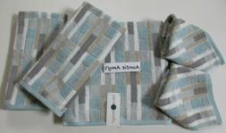 5Pc Set Geometric Striped Towels Aqua/Gray/White/Beige~1-Bat