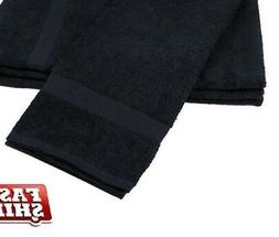 6 new black salon gym spa towels ringspun hand towels 16x27