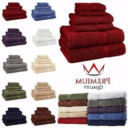 6 Piece Bath Towel Set 100% Egyptian Cotton 600 Gram 10 Colo