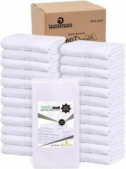 GOLD TEXTILES 60 Pcs White 16X27 Cotton Blend Salon Towels G