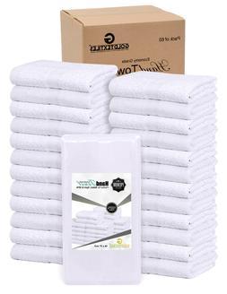 """GOLD TEXTILES 60 Pcs White 16""""X27"""" 100% Cotton Salon Towels"""