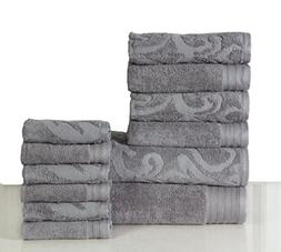 600 GSM Cotton 12 Piece Towel Set : 1 Jacquard and 1 Solid B
